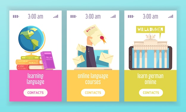 Language training center 3 vertical colorful banners advertising certified online courses with dictionaries diploma flat Free Vector