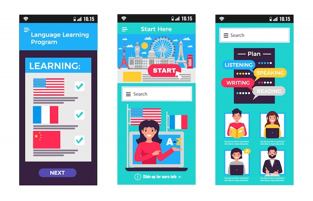 Language training mobile apps Free Vector