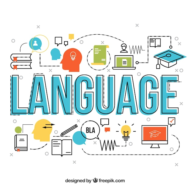 Language word concept with flat design Free Vector