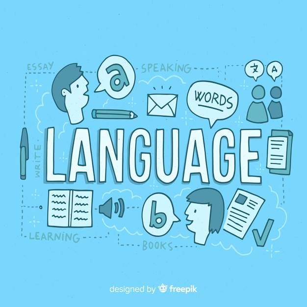 Languages concept background in hand drawn style Free Vector