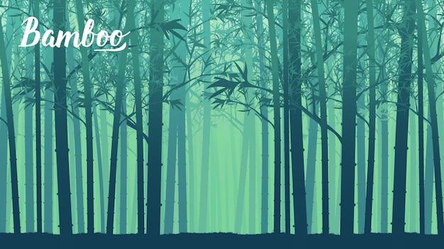 マレーシアの熱帯雨林における竹の木の風景。テンプレートのランディングページの壁紙のデザイン Premiumベクター