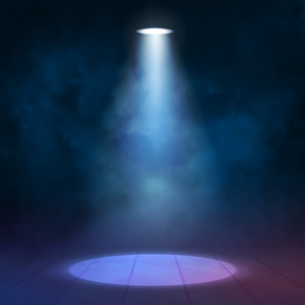 Lantern floodlight spotlight illuminates wooden scene Premium Vector