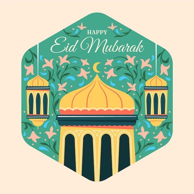 Lanterns and flowers hand drawn eid mubarak Free Vector