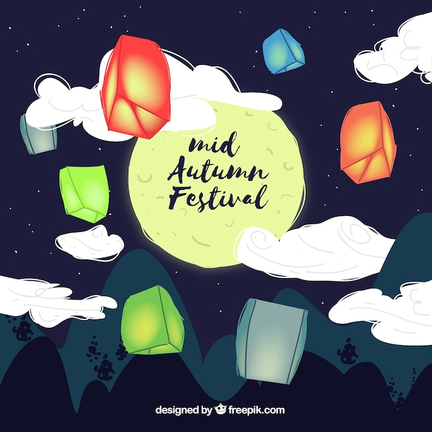 Lanterns with lights, mid autumn festival