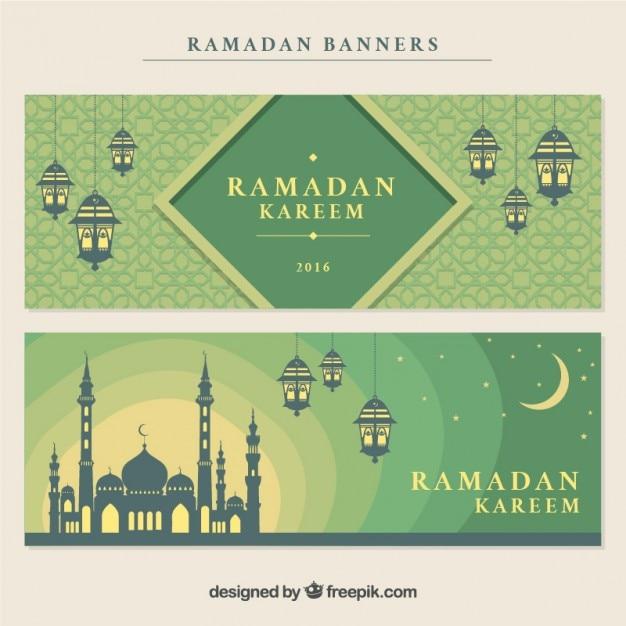 Декоративные рамадана баннеры с мечетью и lanters Бесплатные векторы