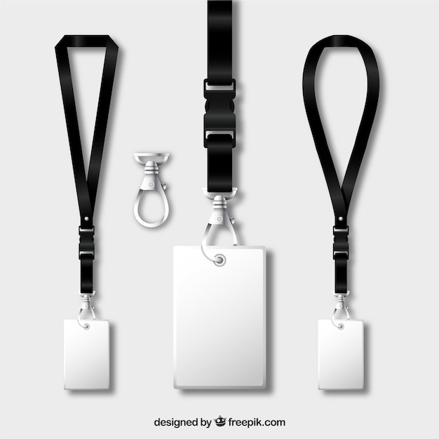 Lanyard collection with realistic design Free Vector