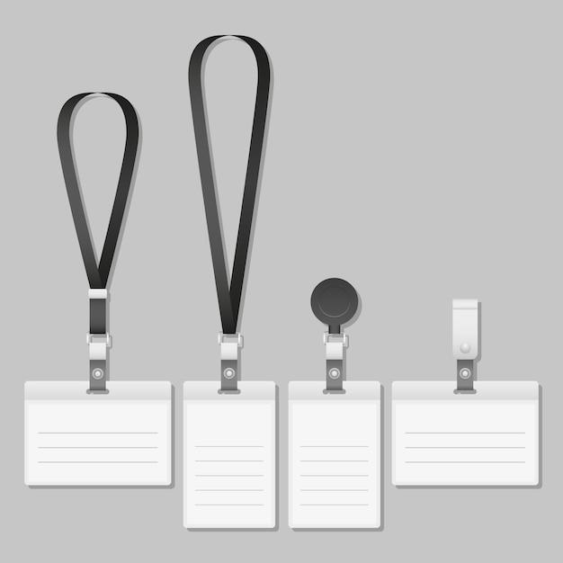 Lanyard. identification card with ribbon. Premium Vector