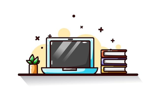 노트북과 책 그림 손 그리기 프리미엄 벡터