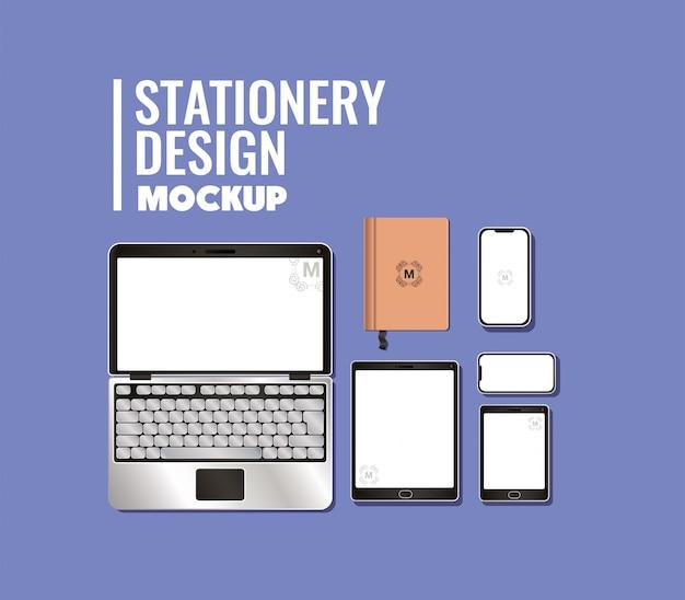 コーポレートアイデンティティと文房具のデザインテーマのラップトップとブランドのモックアップセット Premiumベクター