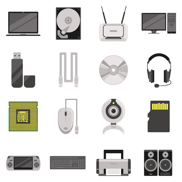 Ноутбук и компьютер с компонентами и аксессуарами и электронными устройствами Бесплатные векторы