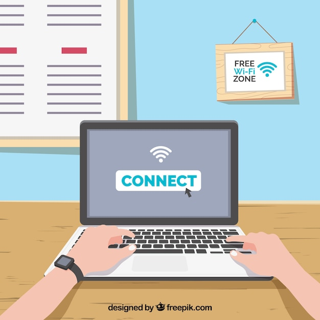 Laptop background connected to internet Free Vector