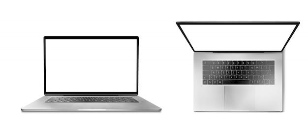 Портативный компьютер спереди и вид сверху Бесплатные векторы
