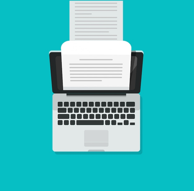 Laptop computer typewriter with long written content text document Premium Vector