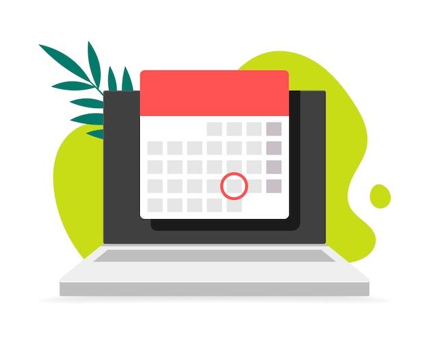背景の落書きと葉のカレンダー付きラップトップコンピューター。イラスト。ラップトップディスプレイのオンラインプランナーアプリ。イベントの日付を示すフロントビュー。 Premiumベクター
