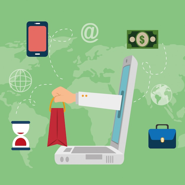 Laptop computer with electronic commerce icons Free Vector