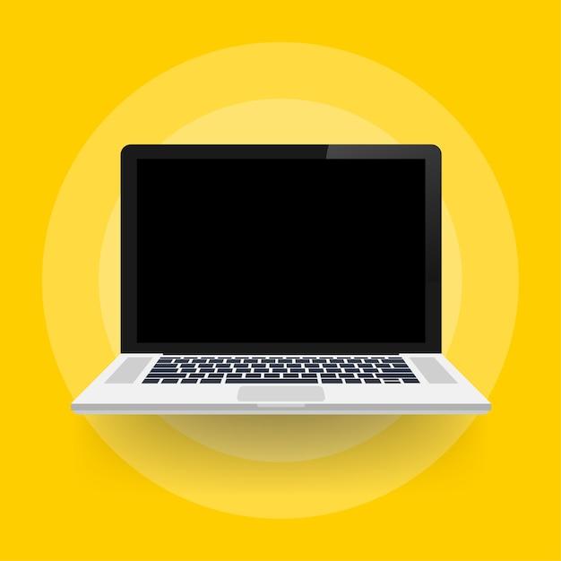 Портативный компьютер с пустым экраном в плоском стиле. Premium векторы