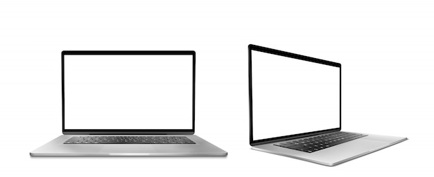 Laptop computer with white screen and keyboard Free Vector
