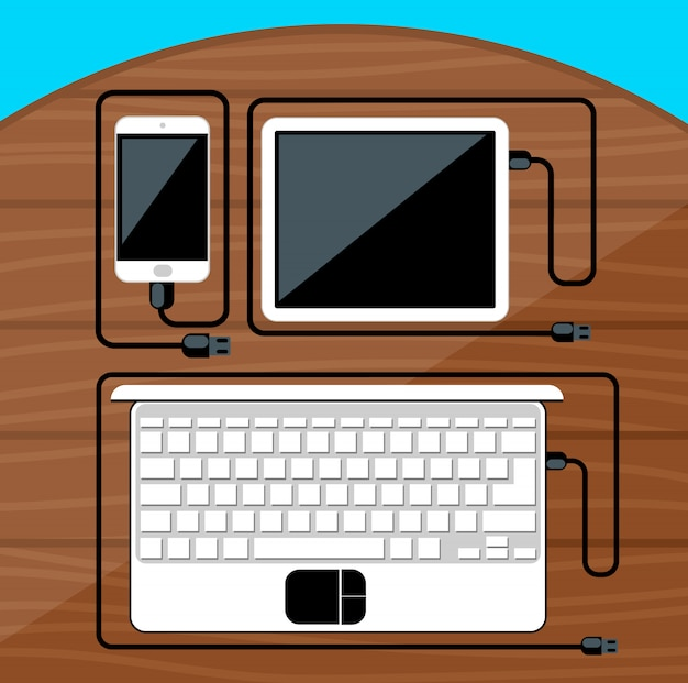 Laptop, digital tablet, smartphone with usb cables ready for connection and work on wood table Premium Vector