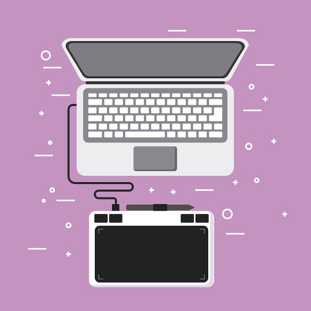 Laptop and drawing tablet pen design equipment Premium Vector