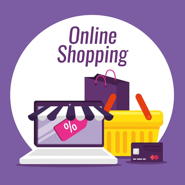 Laptop ecommerce with credit card and basket Free Vector