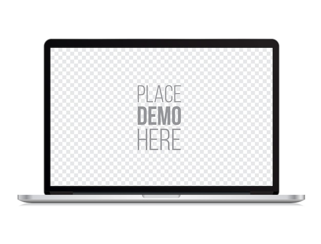 Laptop front mockup macbook style isolated Premium Vector