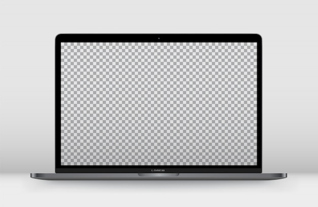 Laptop front transparent screen. Premium Vector