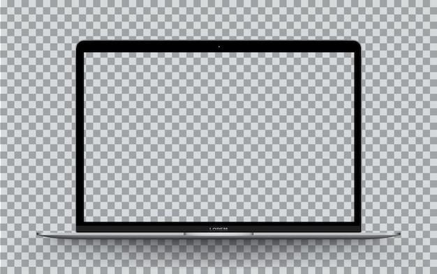 Laptop front transparent screen. Premium Vector