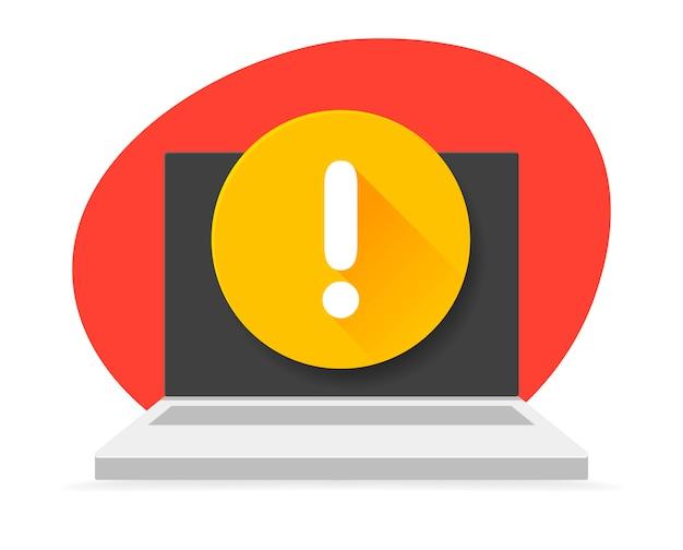 画面に感嘆符が付いたノートパソコンのアイコン。イラスト。通知。感嘆符付きのメッセージ。警告、警告、重大なエラーの概念。 Premiumベクター