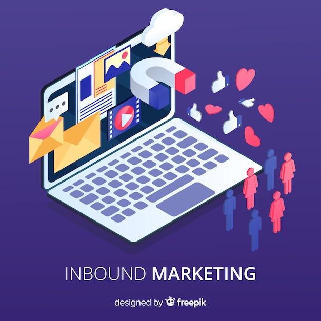 Laptop inbound marketing background Free Vector
