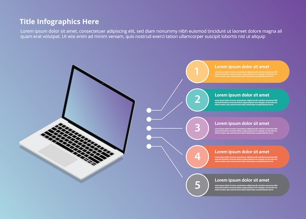 Laptop infographics with isometric style and 5 point bullets Premium Vector