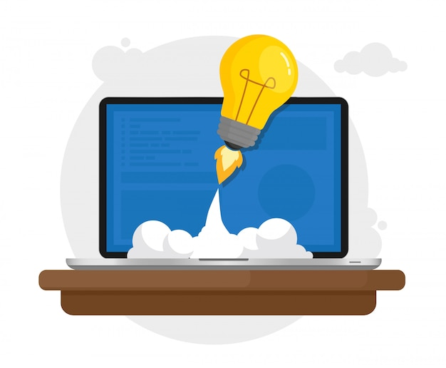 Laptop launching light bulb into space Premium Vector
