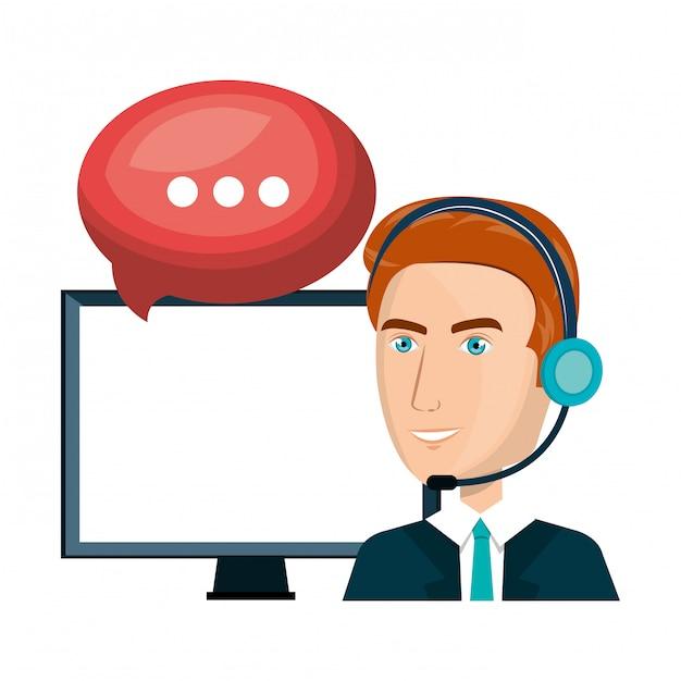 Laptop man customer service call center design Premium Vector
