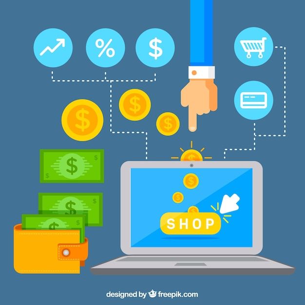 Laptop, money and shopping with flat design Free Vector