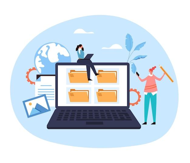 노트북 Pc 파일 구성 웹 서비스 아카이브 웹 사이트 문서 개념. 프리미엄 벡터