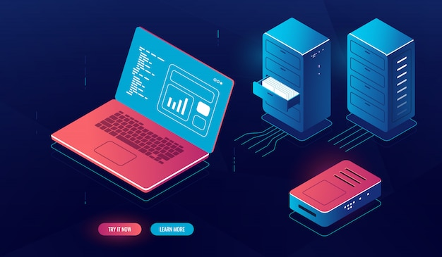 Laptop pc with data processing on screen, cloud computing, isometric server room element Free Vector