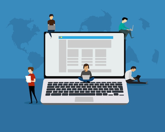 Laptop people concept illustration of young people using laptop, tablet  for social networking and blogging Premium Vector