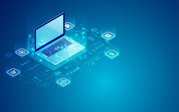 Laptop programming Premium Vector
