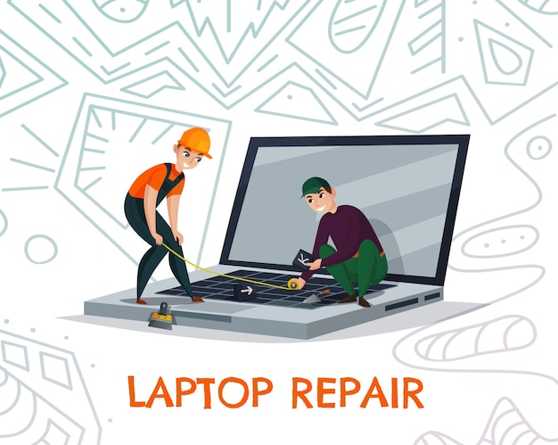 Laptop repair with electronics and technology work symbols Free Vector