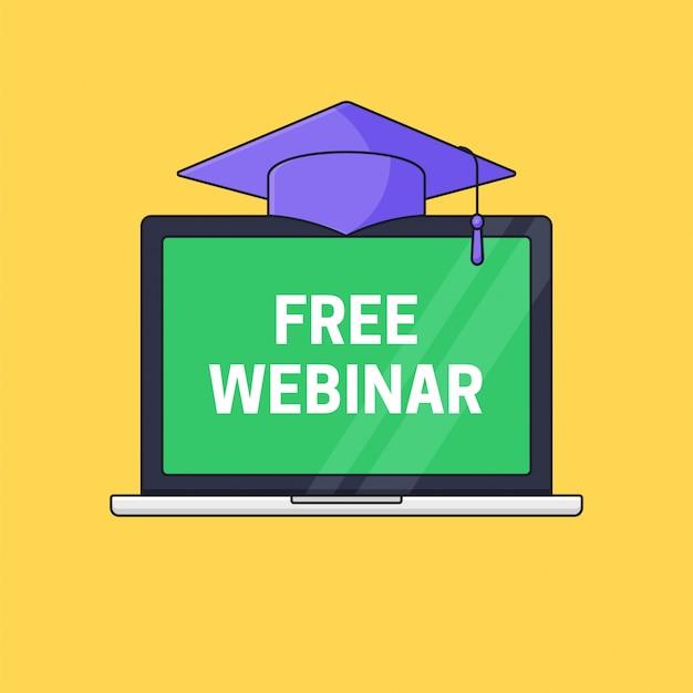 Экран ноутбука с градуированной тогой сверху для бесплатного веб-семинара онлайн-курс значок дистанционного обучения логотип Premium векторы