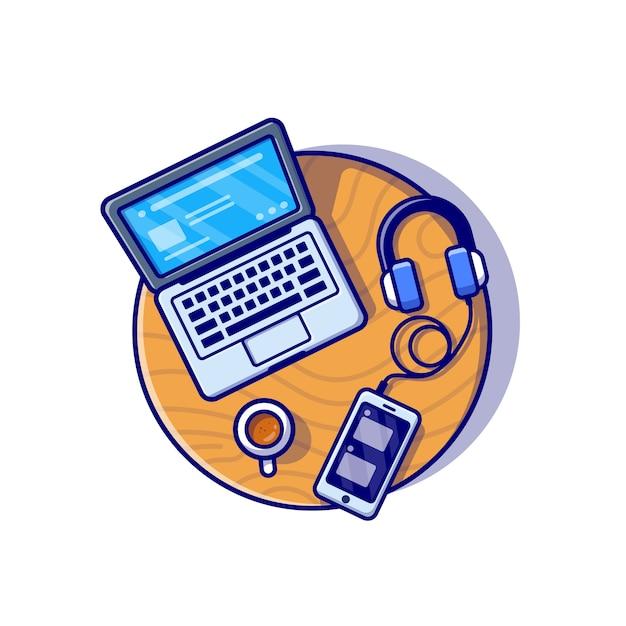 Ноутбук, смартфон и наушники мультфильм значок иллюстрации. концепция значок бизнес-технологии. плоский мультяшном стиле Бесплатные векторы
