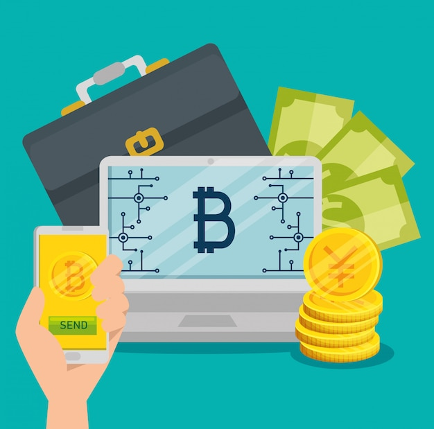 Laptop and smartphone with bitcoin currency and bills Free Vector