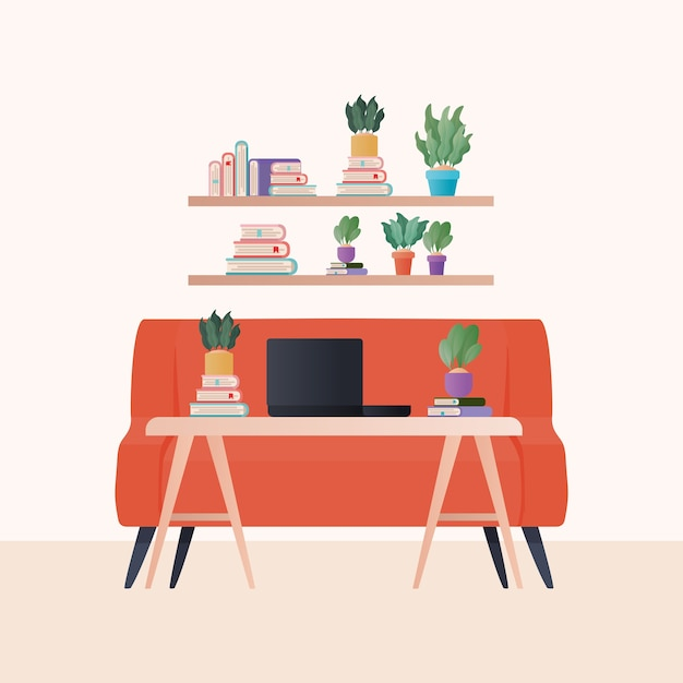 Premium Vector Laptop On Table In Front Orange Couch And Shelves With Books And Plants Design Home Decoration Interior Living Building Apartment And Residential Theme