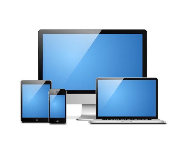 Laptop tablet desktop mobile Vector