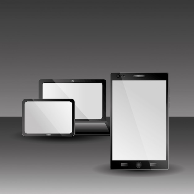 Laptop tablet and laptop technology gadgets with shadow Premium Vector