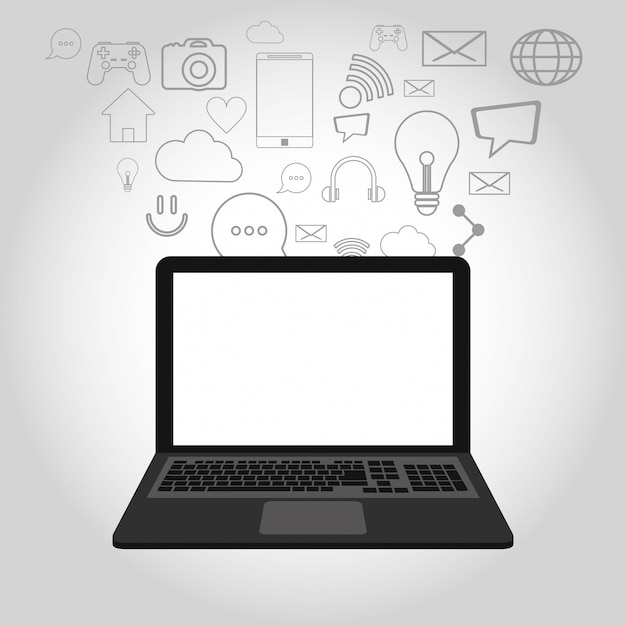 Laptop and telecommunication related icons Premium Vector