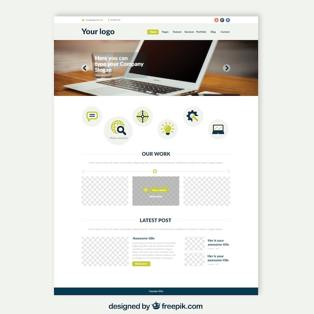 Laptop website template Vector | Free Download