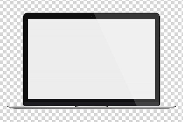 Ноутбук с пустой экран, изолированные на прозрачном фоне. Premium векторы