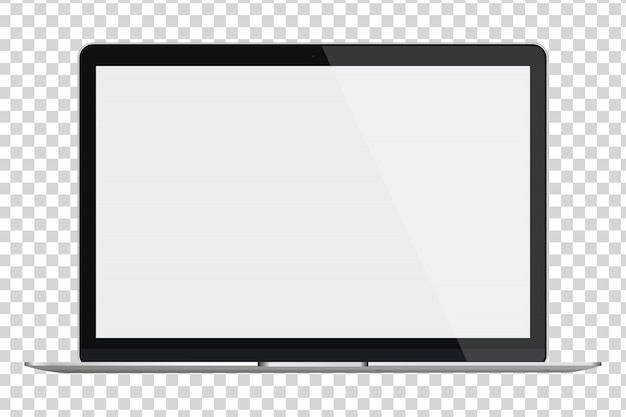 Laptop with blank screen isolated on transparent background. Premium Vector