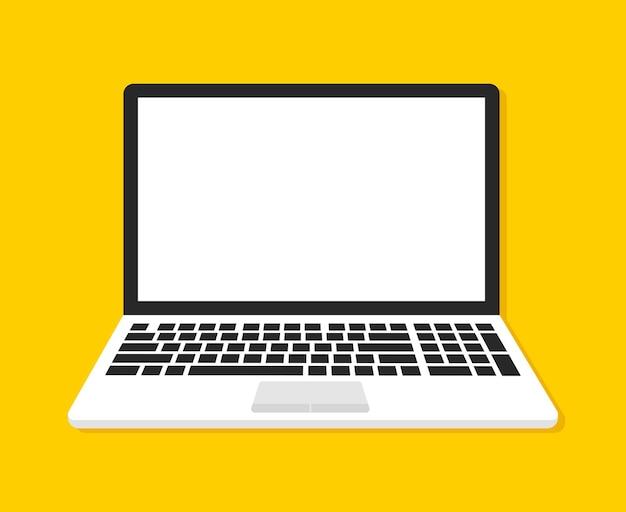 Ноутбук с пустым экраном на желтом Premium векторы