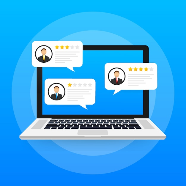 Laptop with customer review rating messages, laptop display and online reviews or client testimonials, concept of experience or feedback. Premium Vector